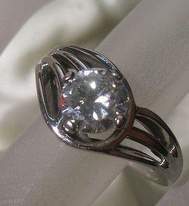 SOLID 18K White Gold DIAMOND 0 79 CARAT RING Vintage Estate Jewelry