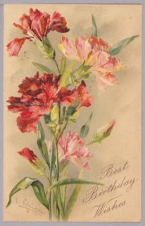 Catherine Klein Carnations Pink and Red Vintage Birthday Postcard 117