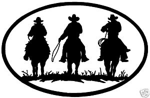 REQUEST 1 Oval Horse Rider Decal ST 43 Western 22 x 14 38 in White