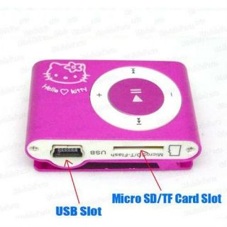 Player Clip Hello Kitty Pink 4GB Micro SD Card TF Flash USB Music