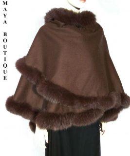 Brown Cashmere Real Fox Fur Trim Cape Coat Wrap Stole Shawl Maya