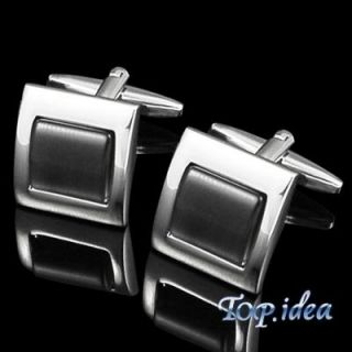 XMAS GIFT SAPPHIRE CATSEYE BUTTON SILVER TONED STAINLESS STEEL SQUARE
