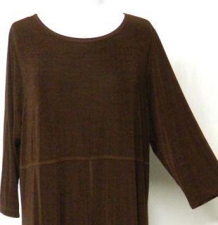 New Carolyn Straus Size 1x Plus Brown Slinky Stretch Knit Dress Maxi A