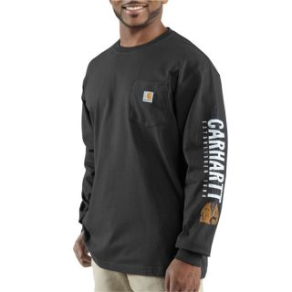Carhartt Long Sleeve Impact Logo Cotton Pocket T Shirt Black 100015