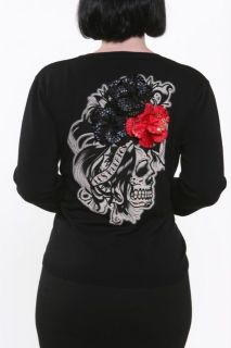 Lucky 13 Los Muertos Cardigan Day of The Dead Embelished Cardigan