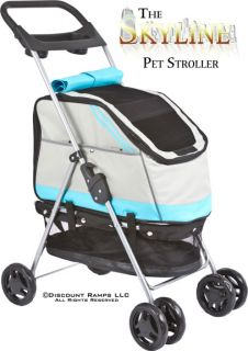 Gray Folding Dog Stroller Pet Carrier Soft Crate PS 53 Blue