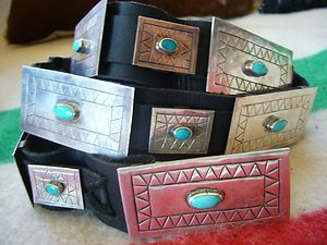 UNISEX SLEEPING BEAUTY TURQUOISE STERLING HAND WROUGHT SIGNED CONCHO
