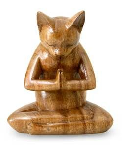 Yoga Cat Figurine Signed Statue Namasté New Art