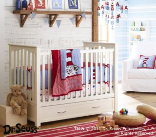 Pottery Barn Kids Dr Seuss Cat in The Hat Crib Bumper Quilt Skirt