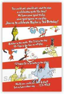 Dr Seuss Cat in The Hat Thing 1 and 2 Horton Grinch Birthday