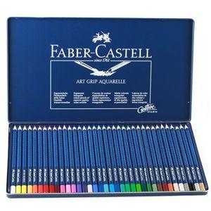 FABER CASTELL 36 Aquarelle Watercolor Pencils Metal Tin Box   Art Draw