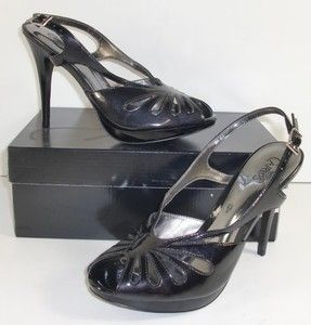 Carlos Santana Aspire 8 M Black Peep Toe Strappy Sandals Heels Womens