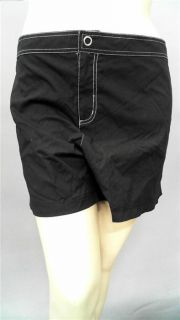 Catalina Womens Plus 3X Shorts Cover Up Black Board Solid Swim Casual