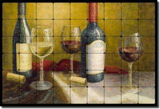 Ching Wine Tasting Art Decor Tumbled Marble Tile Mural