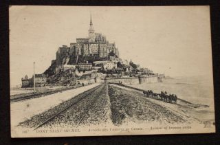 1919 Arrival of Broows Carts Mont Saint Michel France