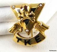 Tau Kappa Epsilon 14k Gold Fraternity Skull Pin Badge