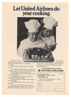 1976 United Airlines Catering Program Chefs Photo Ad