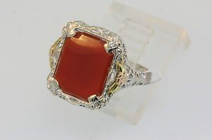 Gold Victorian Flat Faced Carnelian White Gold Filigree Ring