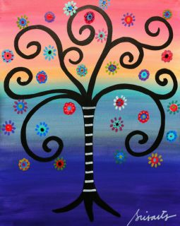Mexican Folk Art Tree of Life Flowers 20x16 Original Prisarts