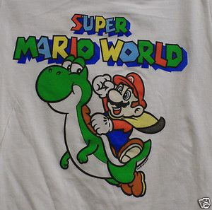 20 Large L Super Mario riding Yoshi World Bros shirt girls White