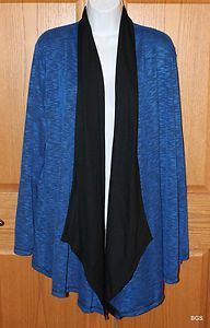 JONES NEW YORK Royal Blue & Black Long Sleeve Cardigan Sweater Womens