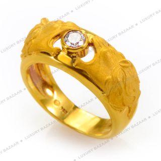 Carrera Y Carrera 18K Yellow Gold Lions and Diamond Ring