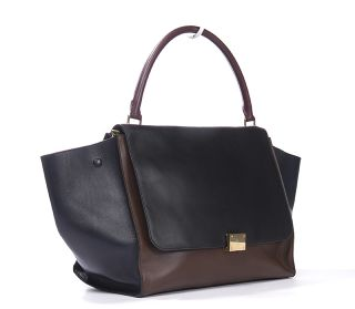 celine black burgundy calfskin leather trapeze bag div