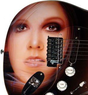 Celine Dion Autographed Signed Airbrush Guitar & Proof PSA DNA UACC RD