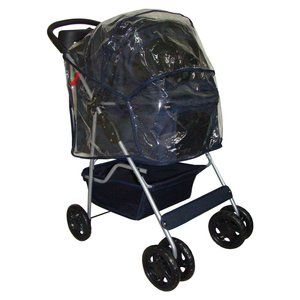 Blue Classic 4 Wheels Pet Dog Cat Stroller Carrier w Raincover