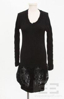 Emilio Cavallini Black Stretch Knit Dragon Design Puff Hem LS Dress