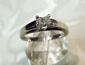 SOLID14K WG 1 3 Ct Heart Shape Diamond Solitaire Engagement Ring 2 7