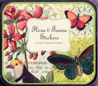 Cavallini Flora Fauna Stickers Assorted Label Set New