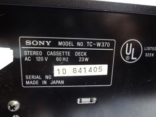 Sony Cassette Deck TC W370 Dual Cassette Deck 2 Motor Dolby B C for