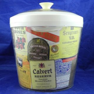 Vintage Alcohol Ice Bucket Chivas Regal Scotch Lord Calvert Gin