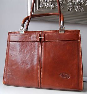 CONTE DI CAVOUR /ITALY ELEGANT BROWN LEATHER KELLY BAG PURSE SILVER