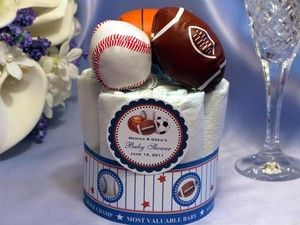 SPORTS Mini Diaper Cake Centerpiece baby shower favors baseball