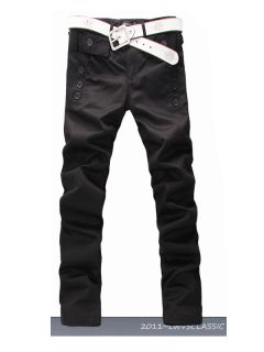 New Men Fashion Korean Style Slim Fit Pocket Design Casual Pants