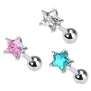 Steel Ear Cartilage Helix Tragus Piercing Jewelry 5mm Star 16g