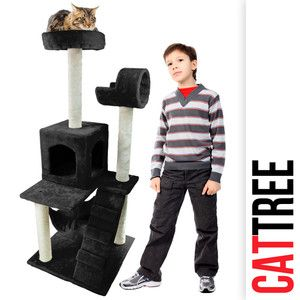 Cat Tower Tree with Condo Black Deluxe 50 Scratcher Furniture Kitten