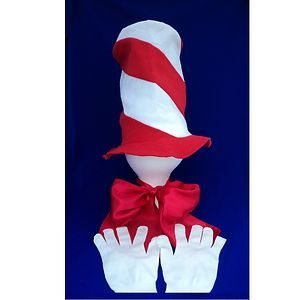 New Custom Almost Cat in The Hat Costume Accessories Set Adult or