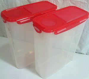 Lock Lock 2 Piece Flip Top Cereal Storage Bin Container Set w Red Lids