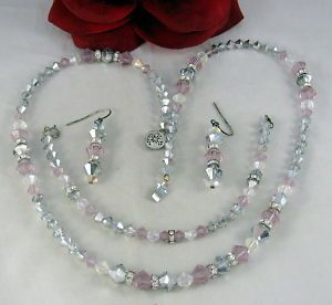 Purple Gray Crystal Necklace Bracelet Set Cat Rescue