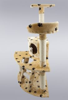 Cat Tree 47 Kitten Condo Furniture Scratching Post Pet House Beige
