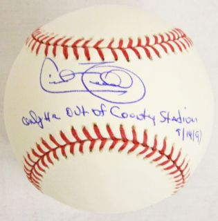 Cecil Fielder Signed MLB Baseball w Only HR Out of County Stadium 9 14