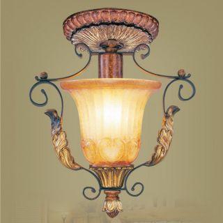 Semi Flush Mount Ceiling Lighting Fixture, Bronze, Rustic Art Glass