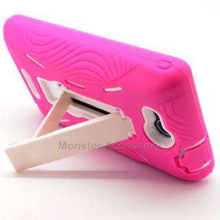 Pink White Kickstand Double Layer Hard Case Gel Cover For LG Lucid 4G