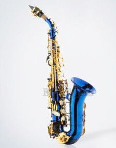 Professional Blue Curved Soprano Saxophone Gold w Case