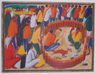 RARE Laurent Casimir Haitian Cockfighting Art Painting