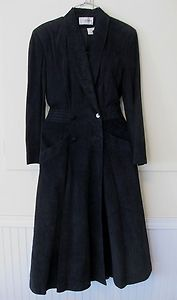 Cedars Womens Black Suede Leather Coat Duster Jacket Size 8 Lined 49
