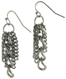 Gun Metal Gray Multi Strand Chain Necklace Earring Set
